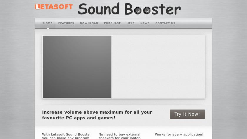 Letasoft Sound Booster Landing Page