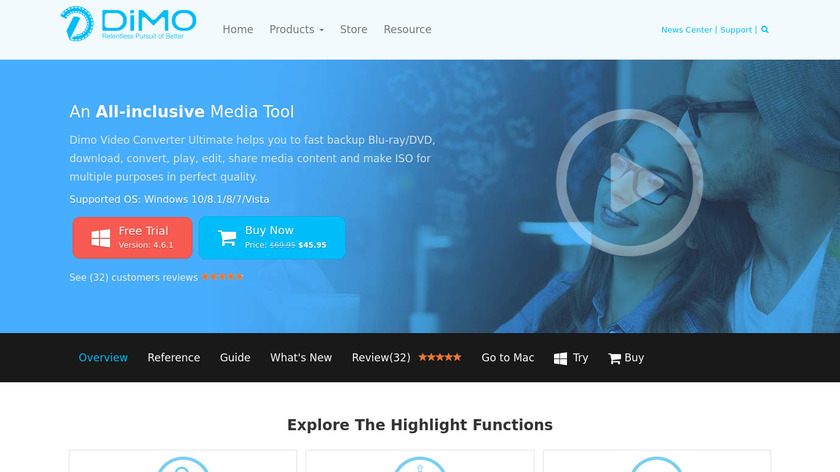 Dimo Video Converter Ultimate Landing Page