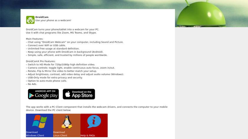 DroidCam Landing Page