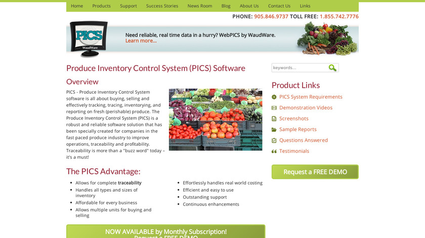 Produce Inventory Control System Landing Page