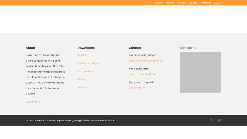Kiwix Landing Page