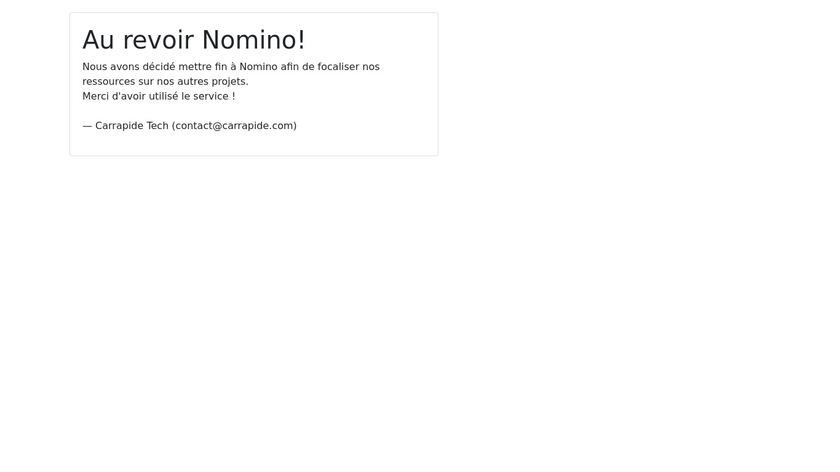 Nomino Landing Page