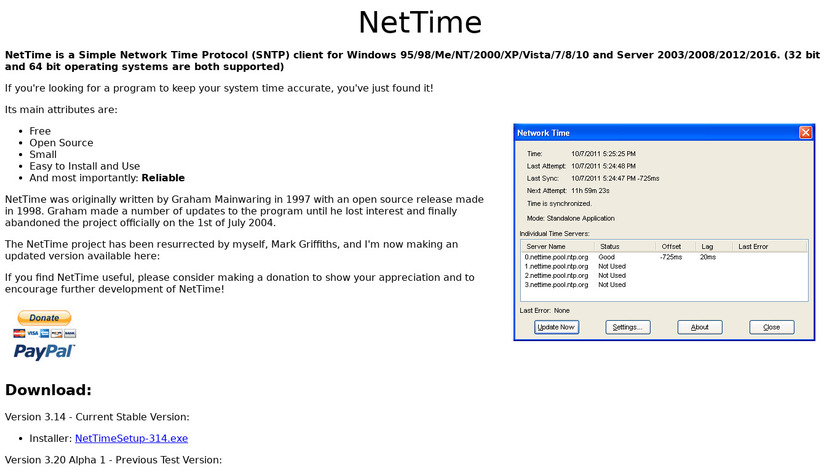 NetTime Landing Page