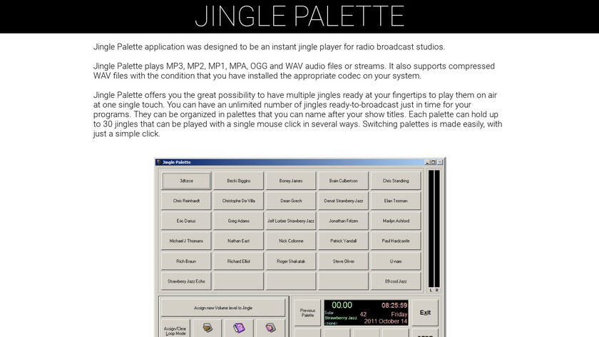 Jingle Palette Landing Page