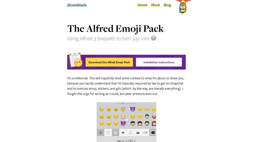 Alfred Emoji Pack Landing Page