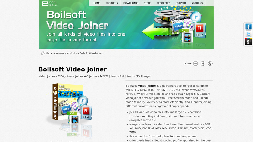 Boilsoft Video Joiner Landing Page