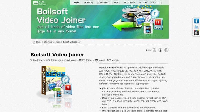 Boilsoft Video Joiner Landing Page
