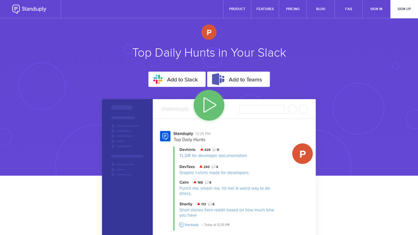 Top Daily Hunts in Slack Landing Page