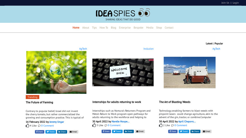 IdeaSpies Landing Page