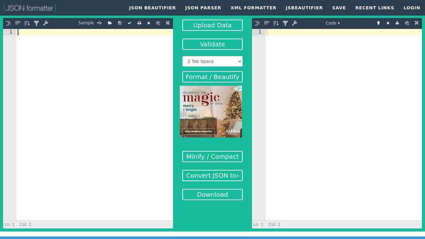 JSONFormatter.org Landing Page