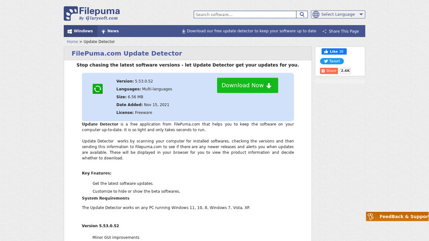 Filepuma.com Update Detector Landing Page