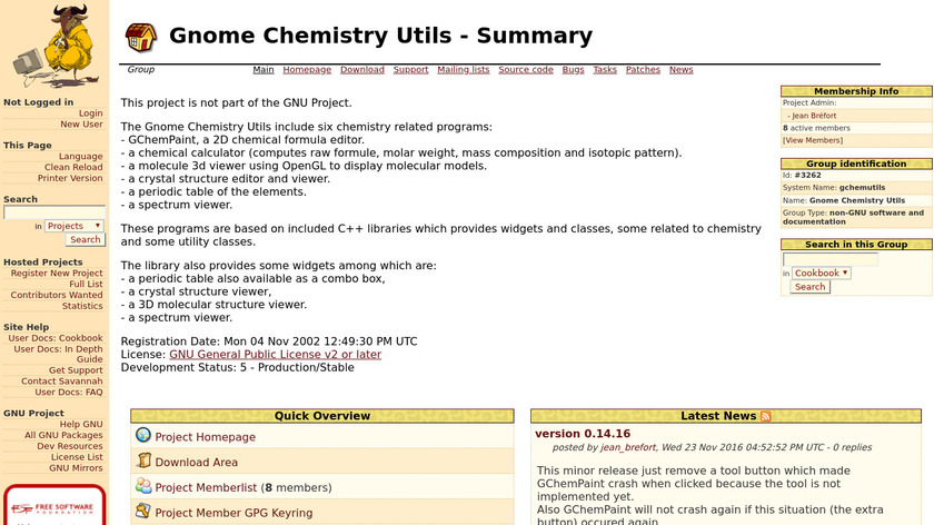 Gnome Chemistry Utils Landing Page