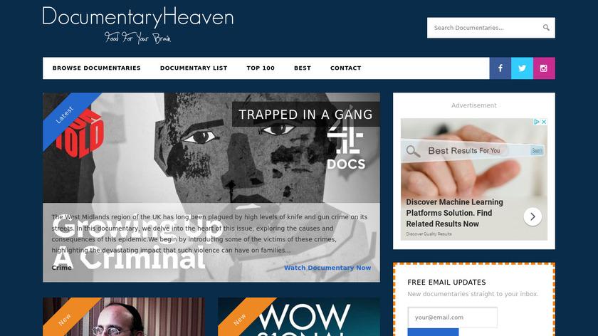 Documentary Heaven Landing Page