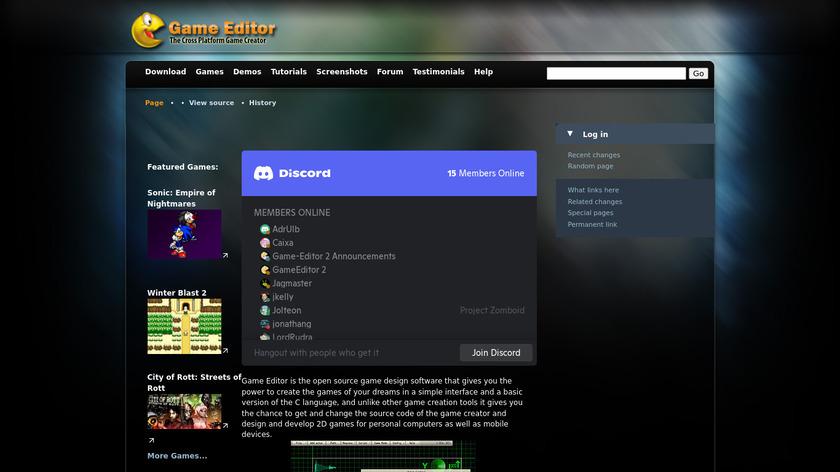 Game Editor Landing Page