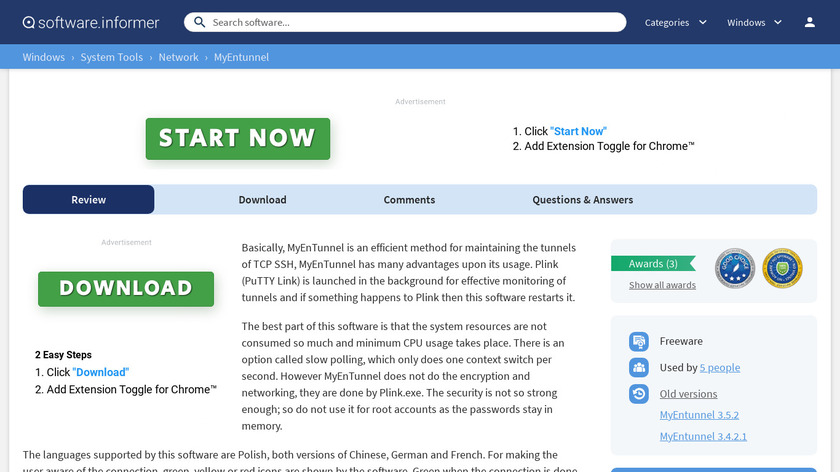 MyEnTunnel Landing Page
