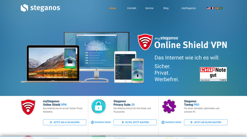 steganos.com Locknote Landing Page