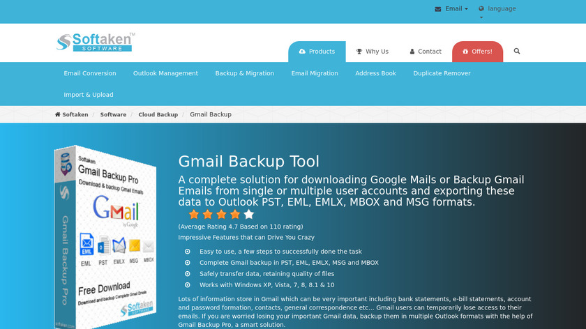 Softaken Gmail Backup Pro Landing Page