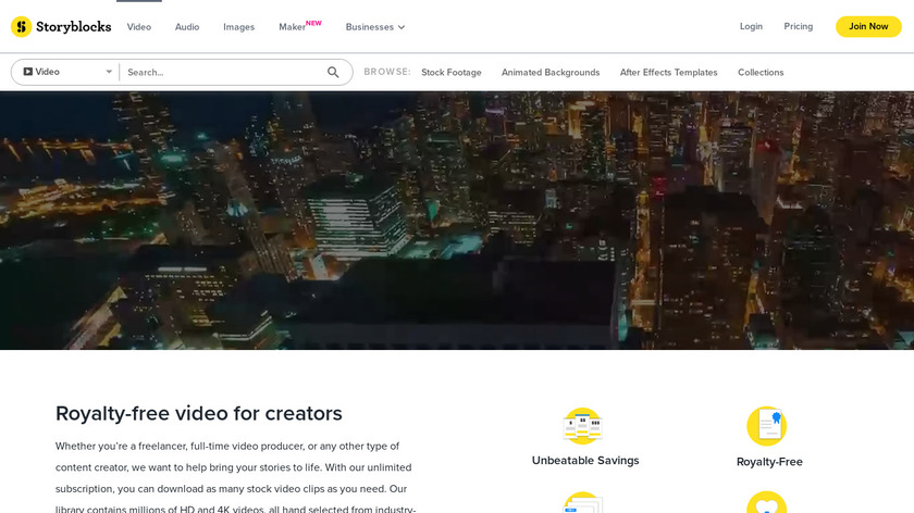 Videoblocks by Storyblocks Landing Page