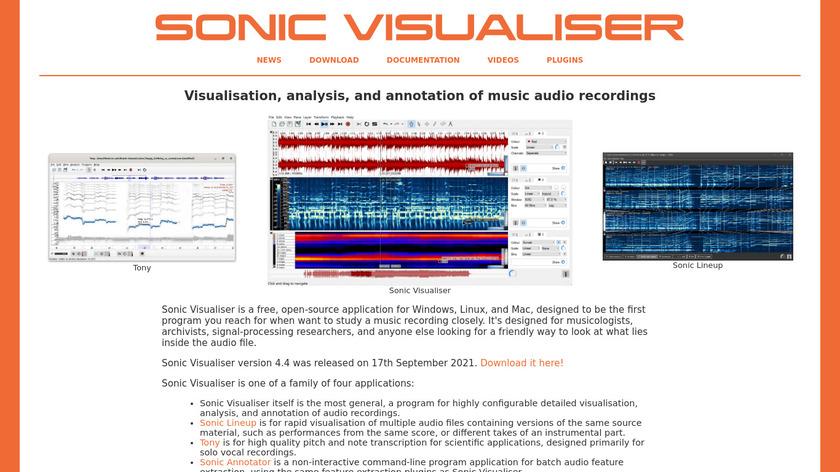 Sonic Visualiser Landing Page