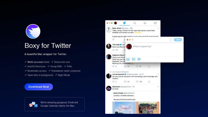 Boxy for Twitter Landing Page