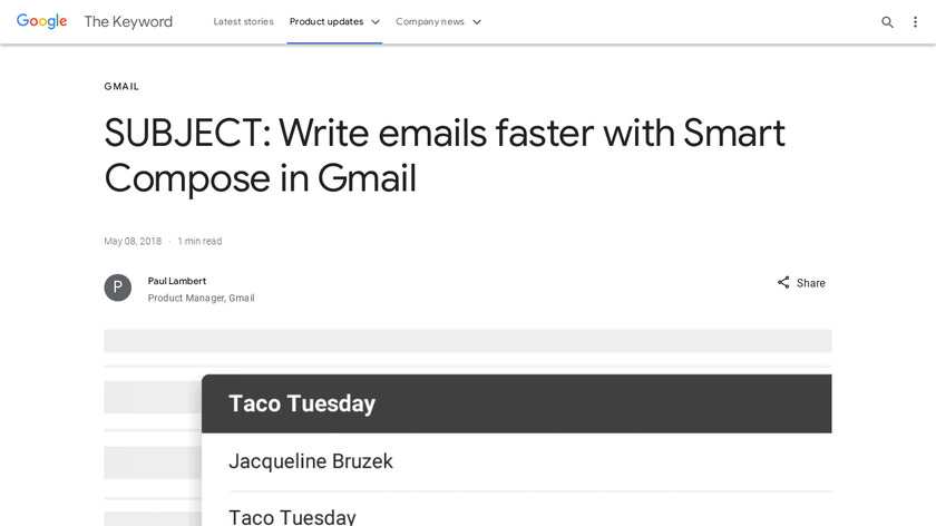 Smart Compose in Gmail Landing Page