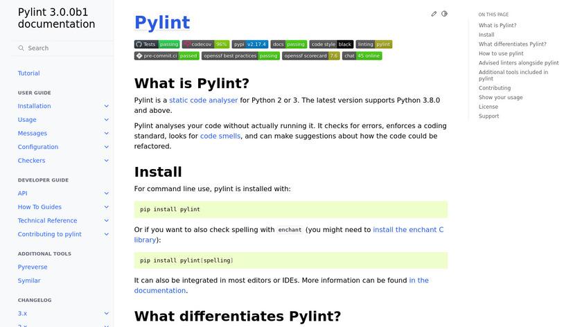 PyLint Landing Page