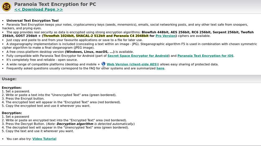 Paranoia Text Encryption Landing Page