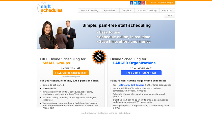 ShiftSchedules Landing Page