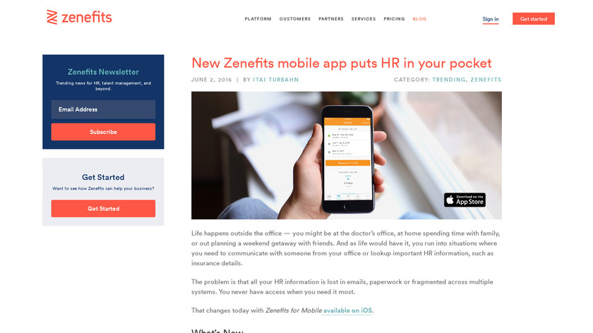 Zenefits Mobile Landing Page