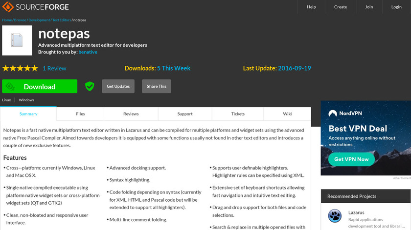 Notepas Landing Page
