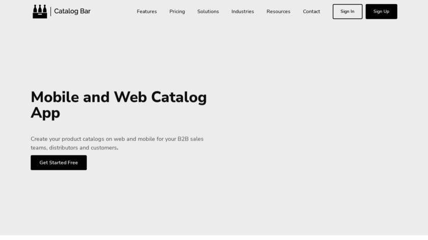 Catalog Bar Landing Page