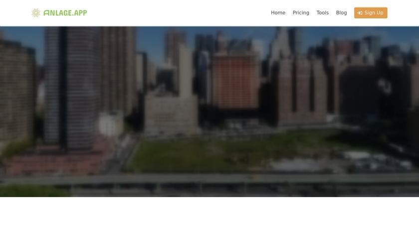Anlage.App Landing Page