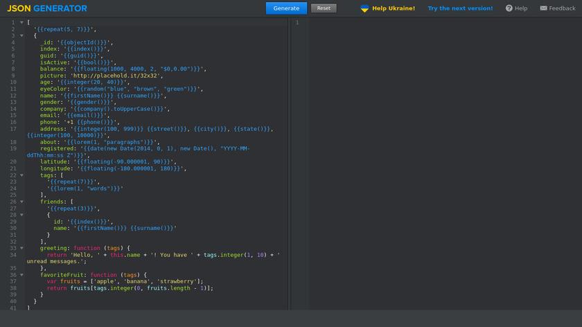 JSON Generator Landing Page