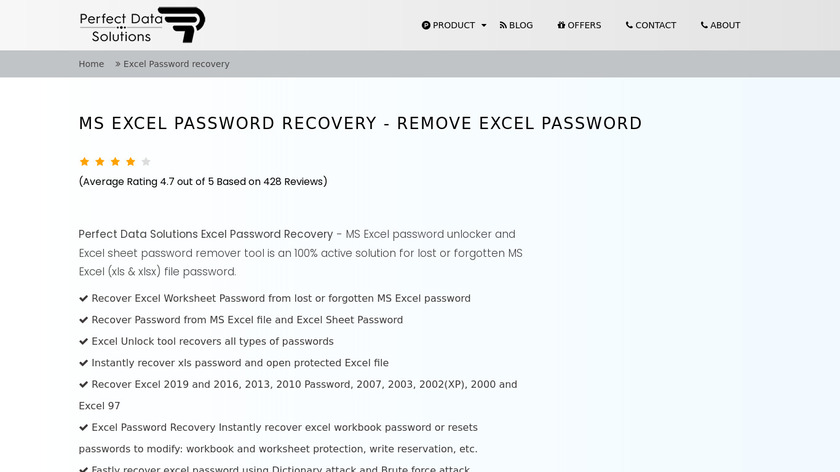 PerfectDataSolutions Excel Password Recovery Landing Page