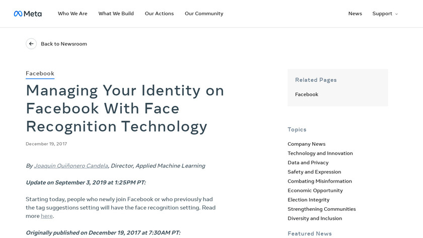Facial Recognition by FB Landing Page