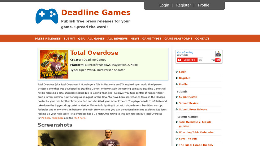 Total Overdose Landing Page