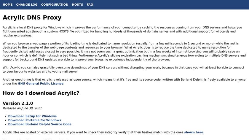 Acrylic DNS Proxy Landing Page