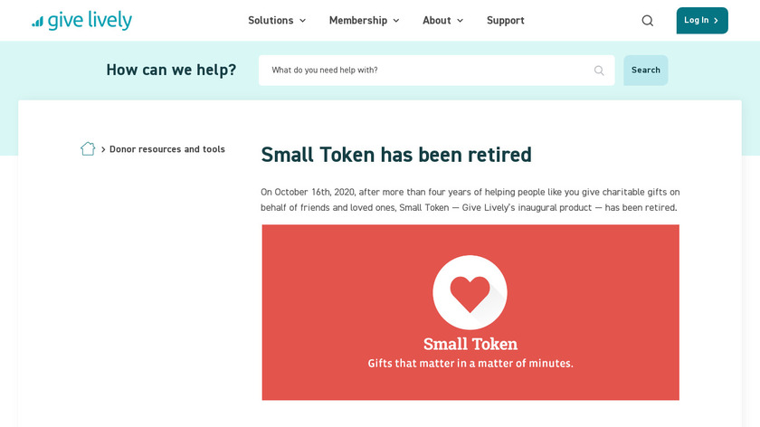 Small Token Gift Wish List Landing Page