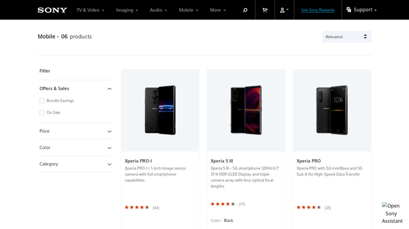 Sony Xperia Landing Page