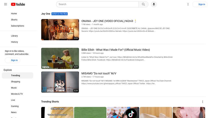 YouTube Trending Landing Page