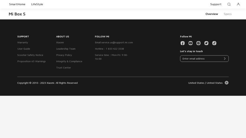 Mi Box S Landing Page