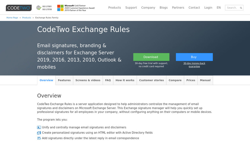 CodeTwo Exchange Rules Landing Page