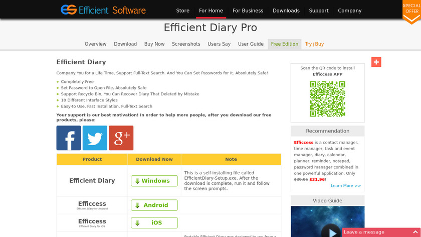 Efficient Diary Landing Page