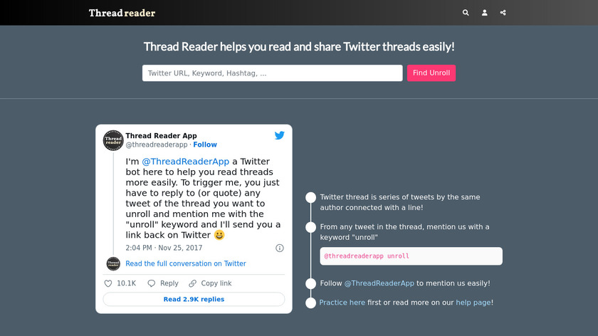 Thread Reader Landing Page