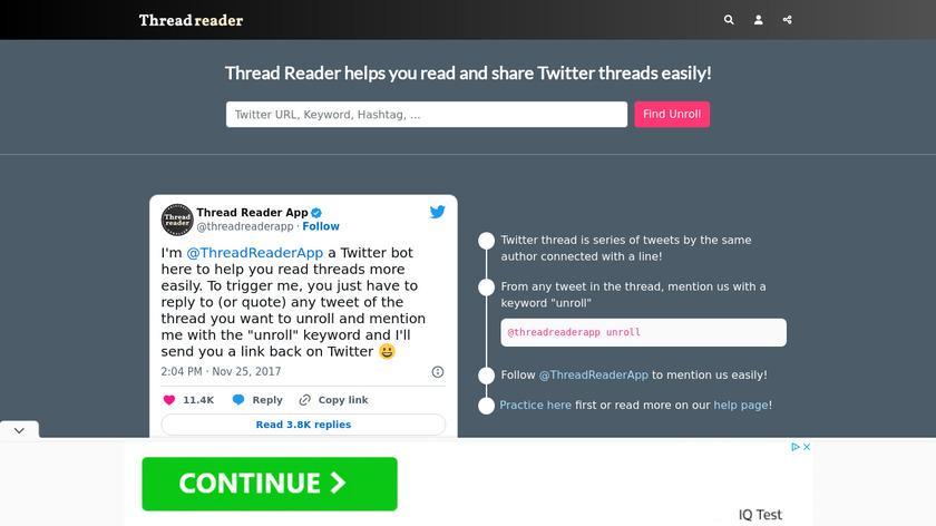 Thread Reader Landing Page