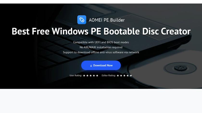 AOMEI PE Builder Landing Page