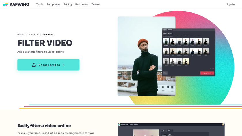 Video Filters by Kapwing Landing Page