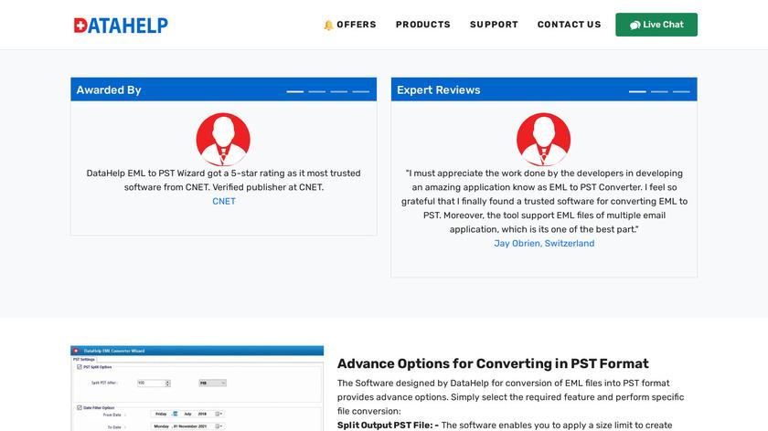 Datahelp EML to PST Converter Landing Page