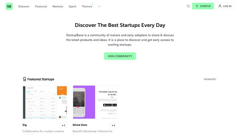 StartupBase Landing Page