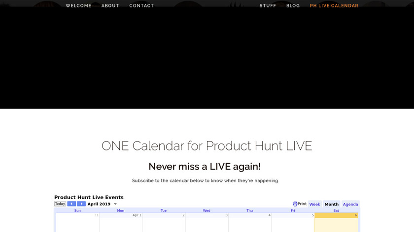 Product Hunt LIVE Calendar Landing Page